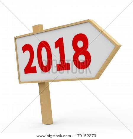 2018 white banner on white background represents the new year 2018 three-dimensional rendering 3D illustration