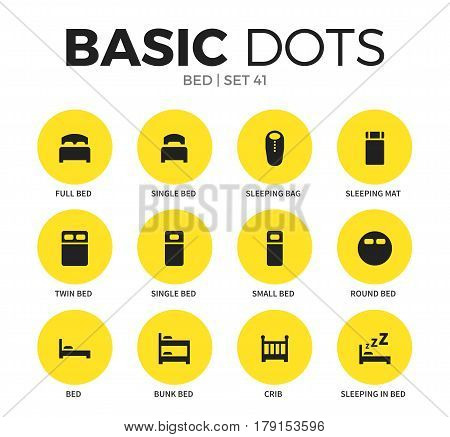 Bed flat icons set with full bed elements single bed icon, bunk bed form isolated vector illustration on white