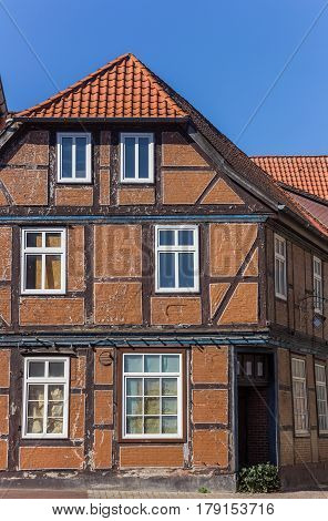 Typical German Half Timbered House In Hanseatic City Stade