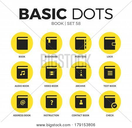 Book flat icons set with book form, bookmark form, and archive element isolated vector illustration on white