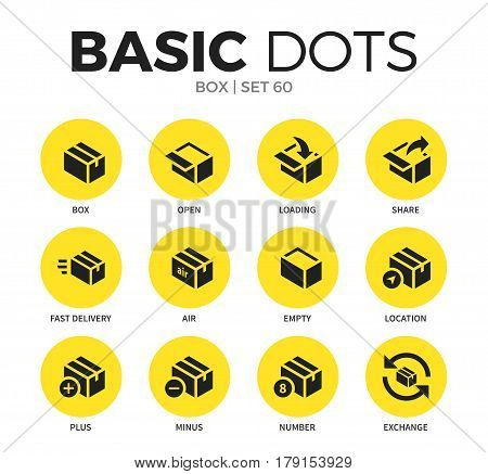 Box flat icons set with box element, open box form and share box form isolated vector illustration on white