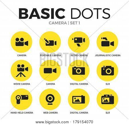 Camera flat icons set with camera form, digital camera form and retro camera form isolated vector illustration on white