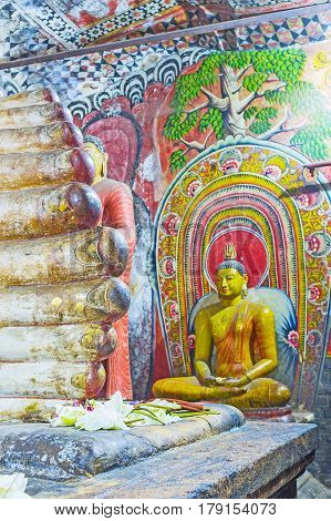 The Statue Of Ananda In Cave Of Dambulla