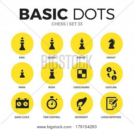 Chess flat icons set with king element, queen form and rook form isolated vector illustration on white