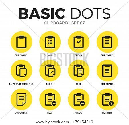 Clipboard flat icons set with to-do list, check form and document form isolated vector illustration on white