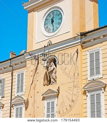 The Clock Tower Of Governor Palace In Parma