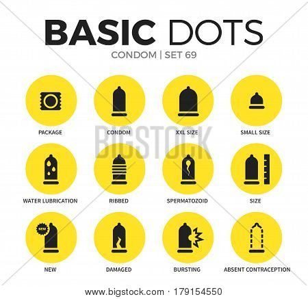 Condom flat icons set with package form, xxl size form and small size form isolated vector illustration on white
