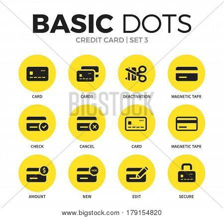 Credit card flat icons set with cards form, deactivation form and magnetic tape isolated vector illustration on white