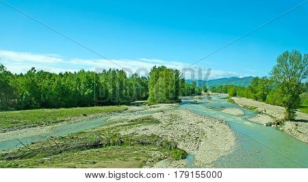 Panorama Of Fiume Taro River