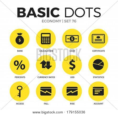 Economy flat icons set with bank form, calculation form and cash form isolated vector illustration on white