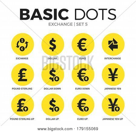 Exchange flat icons set with dollar form, pound form and euro form isolated vector illustration on white