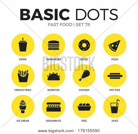 Fast food flat icons set with drink form, donut form and pizza form isolated vector illustration on white