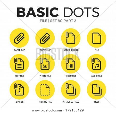 File flat icons set with paperclip form, zip file and attached file form isolated vector illustration on white