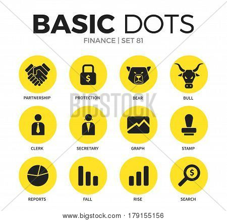 Finance flat icons set with partnership form, clerk form and bull form isolated vector illustration on white