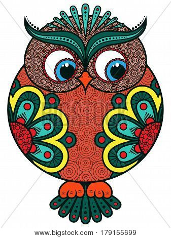 Big Colourful Ornate Rounded Owl