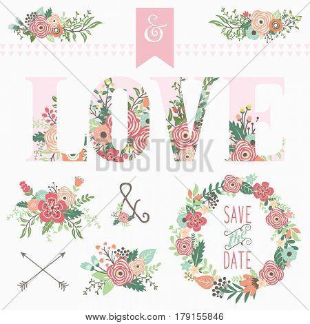 Love Floral Bouquet Elements