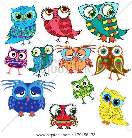Eleven Cartoon Amusing Owls