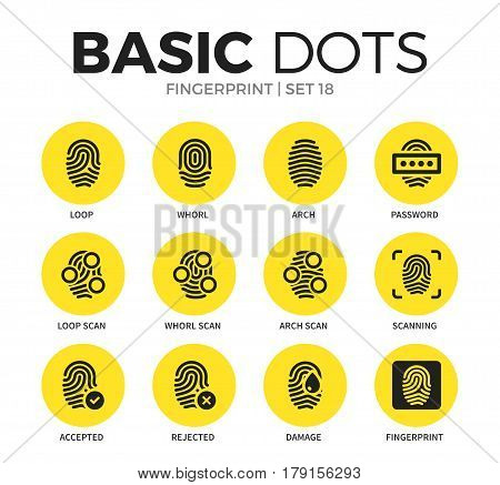 Fingerprint flat icons set with loop form, arch form and password form isolated vector illustration on white