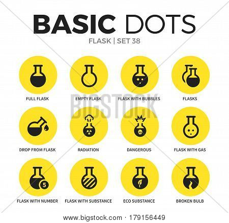Flask flat icons set with full flask, drop flask and dangerous isolated vector illustration on white