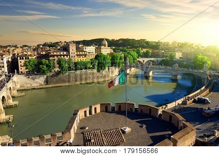 View on Tiber and Rome from the Castle of Angels, Italy