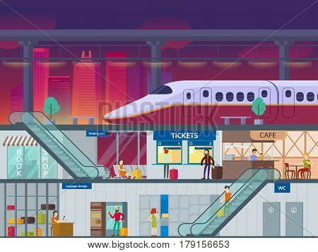 Flat train station night time concept with passengers platform and different departments and areas vector illustration