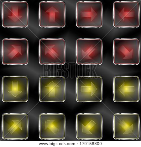 Squares with neon lights and arrow symbols