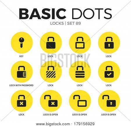 Locks flat icons set with key, lock and lock is open isolated vector illustration on white