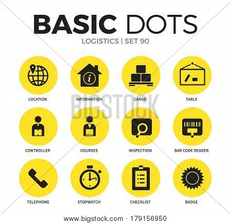 Logistics flat icons set with location, telephone and controller isolated vector illustration on white