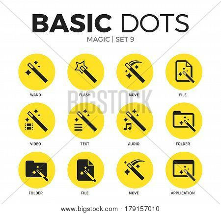 Magic flat icons set with wand, flash and move isolated vector illustration on white