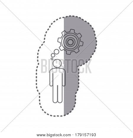 sticker silhouette of man thought in a pinion vector illustration