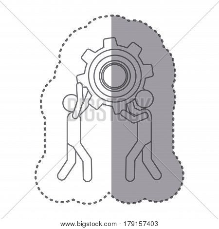 sticker silhouette of men holding a pinion vector illustration