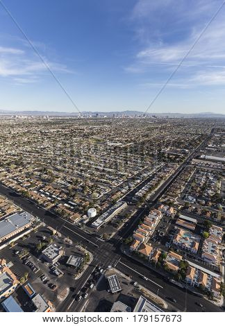 Las Vegas, Nevada, USA - March 13, 2017:  Aerial view of Las Vegas streets in Southern Nevada.