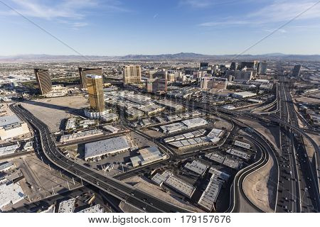 Las Vegas, Nevada, USA - March 13, 2017:  Aerial view of Las Vegas resorts, roads and interstate 15.