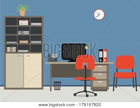 Workplace of office worker. There is a desktop, a case for documents, a chairs, a computer, a phone and other objects in red colors in the picture. Vector flat illustration.