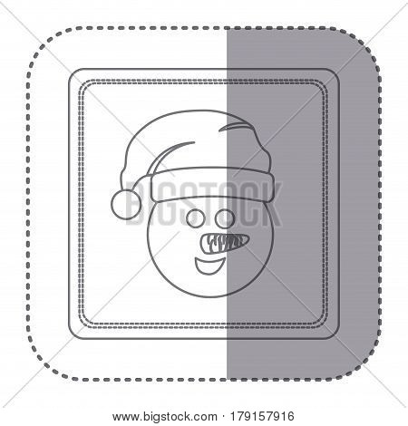 sticker of silhouette frame of snowman face vector illustration