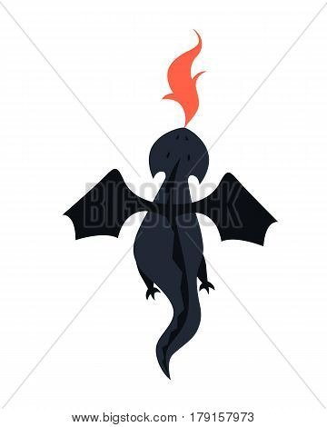 Black dragon flies and breathes fire on a white background. Vector illustration