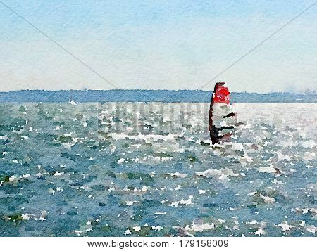 Digital watercolor painting of a windsurfer surfing across the sea with the horizon in view and space for text.