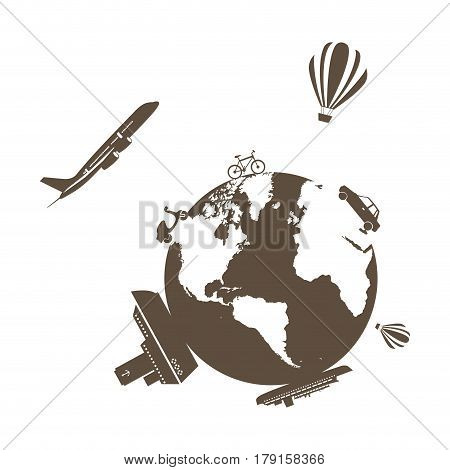 monochrome silhouette of world with means of transport around vector illustration
