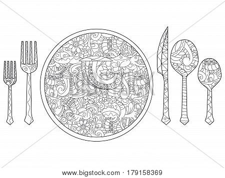 Vector illustration of plate, knife, spoon and fork. Cutlery set. Coloring book for adults. Anti-stress coloring for adult. Zentangle style. Black and white lines. Lace pattern