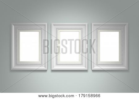 White picture frame on gray wall background. 3d rendering