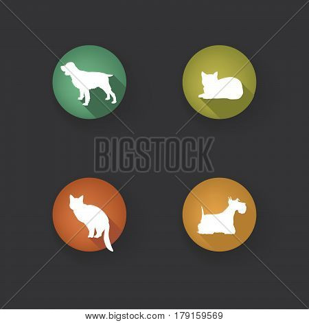 Dog and cat sign set. Collection of  pets icon silhouette.