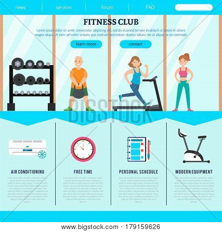 Flat fitness club web page template with athletic healthy people and advantages of gym vector illustration
