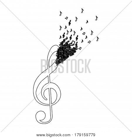 monochrome contour of treble clef with top fading vector illustration