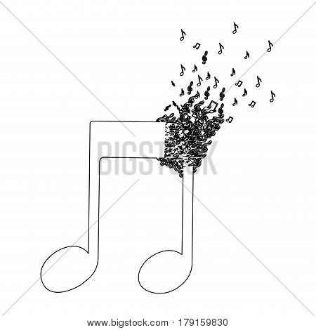 monochrome contour of musical note with top fading vector illustration