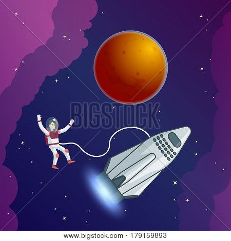 Flat scientific galaxy template with astronaut in spacesuit connected with rocket in outer space vector illustration