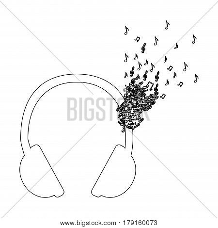 monochrome contour of headphones with music notes fading vector illustration