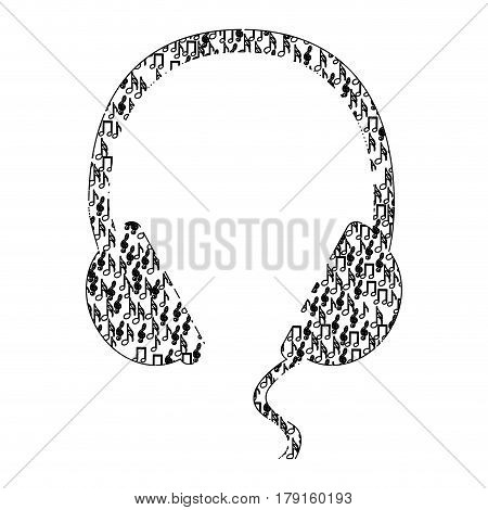 monochrome contour of headphones formed by musical notes vector illustration