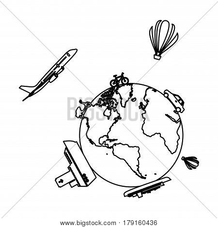 monochrome contour of world with means of transport around vector illustration