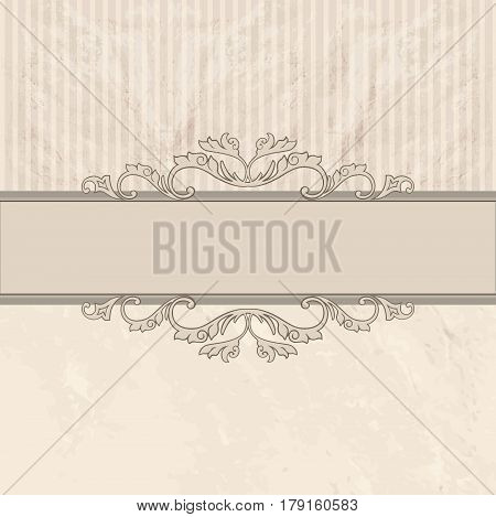 Floral border on vintage background. Old paper with patern in retro victorian style. card border with place for text. Perfect for greetings invitations or announcements.