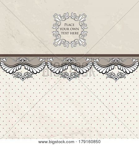 Floral border on vintage background. Old paper with patern in retro victorian style. wallpaper with copy space.